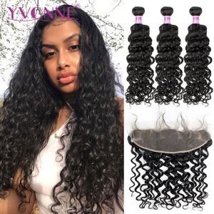 Yvonne italiano encaracolado pacotes de cabelo humano brasileiro com frontal cor natural 3 pacotes tecer cabelo com 13*4 rendas frontal