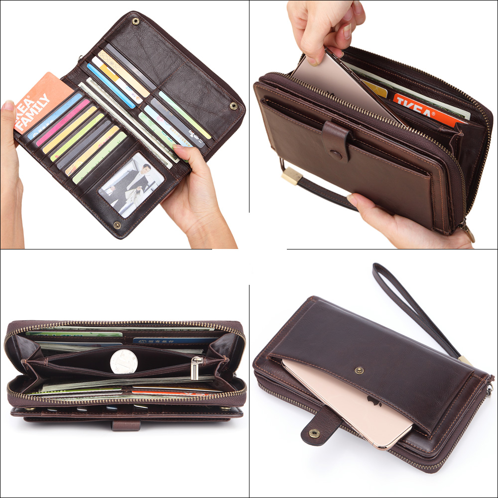 Image 5 - Banlosen Men Cowhide Clutch Wallets Genuine Leather Long Purses  Business Large Capacity Wallet Double Zipper Phone Bag For MaleWallets