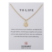 Fashion Card Star Pendant Chockers Necklace Jewelry Alloy Gold Color Chain Charms Hexagram Necklaces Men/Women Gift