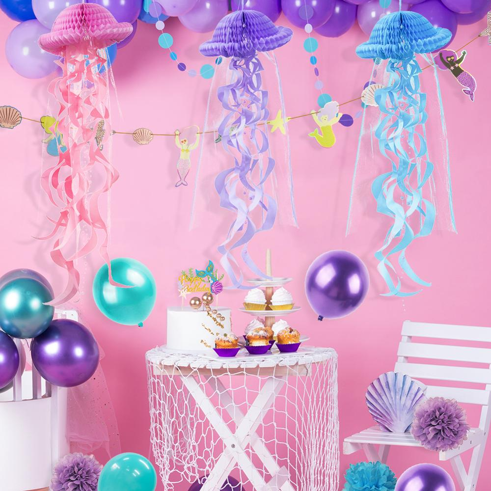 SUNBEAUTY Paper Honeycomb Jellyfish for Mermaid Party Decoration Girls Birthday Party Under The Sea Party Supplies