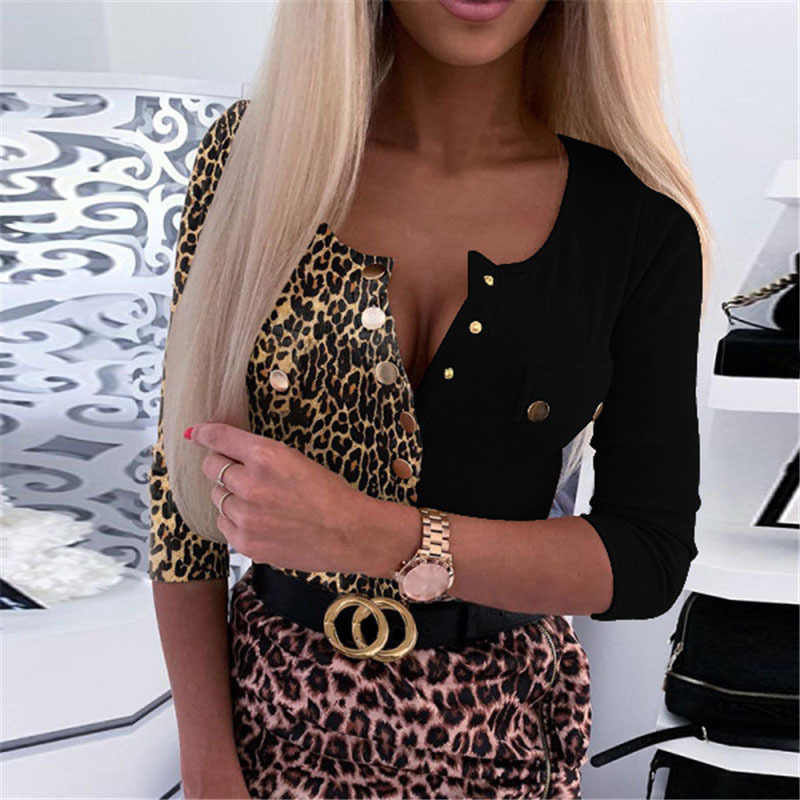Sexy O Collo Manica Lunga Leopard Body T Shirt Donna 2020 Autunno Bottoni Donna Top Femme T-Shirt Camicie Donna Plus Size 5XL