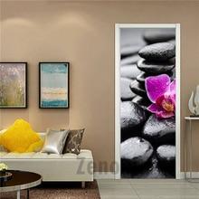 Водостойкая модульная самоклеящаяся 3d-наклейка на дверь, ПВХ, падающий цветок, каменная дорога, украшение для дома