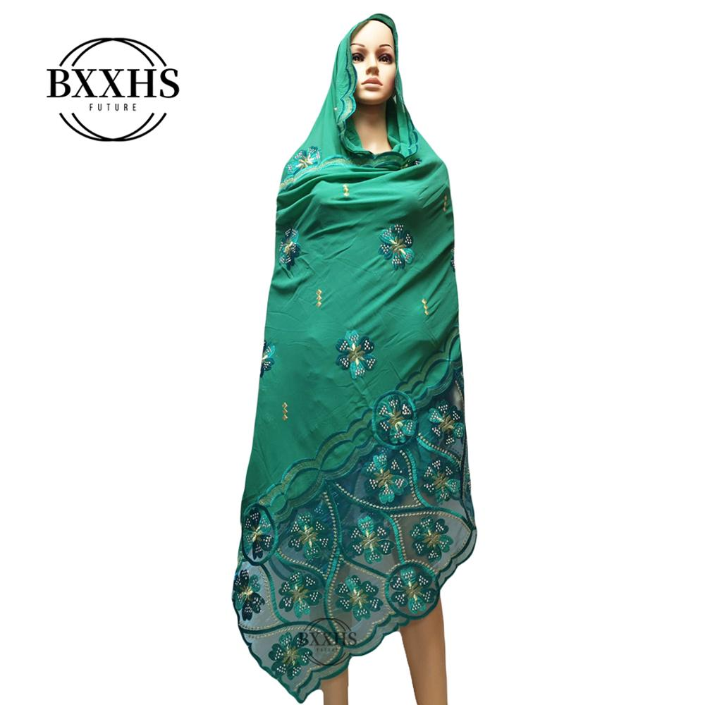 Chiffon Stitching Exquisite Inlaid Drill Plain Embroidery Exclusive Lady Scarf Multi-color Shawl Muslim  Factory Direct Sales