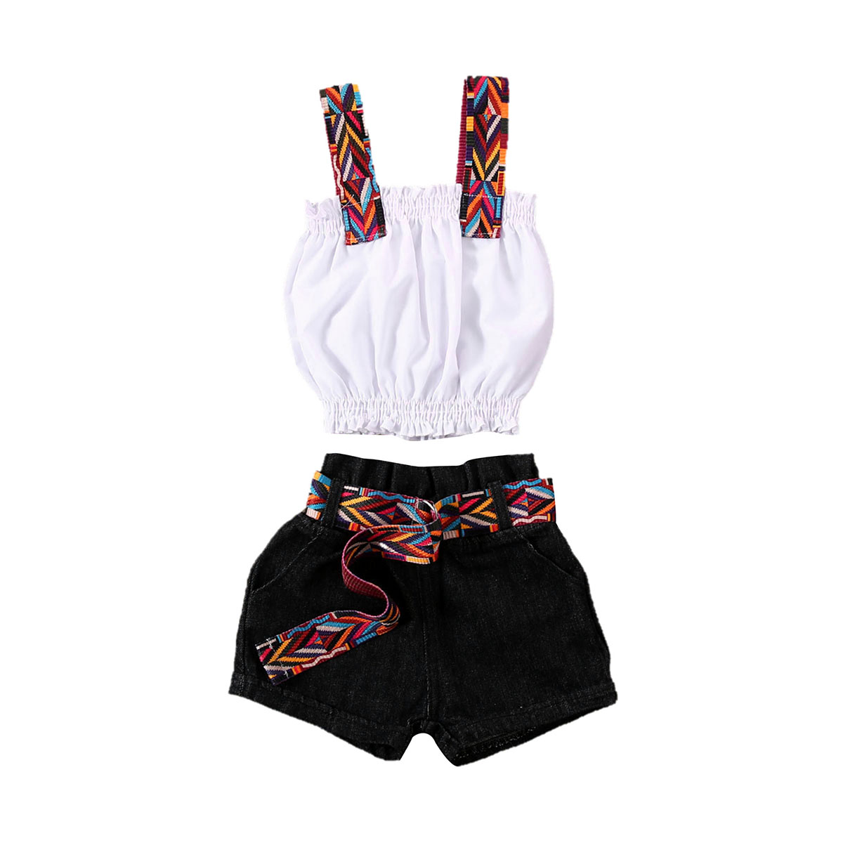 2020 Kids Toddler Baby Girl ummer outfit Spaghetti Strap White Crop Tops Vest Black Belt Shorts Jeans Pants  Fashion 2PCS Set 7