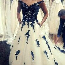 Vestidos De novia blancos y negros De lujo con bolsillos elegante mujer gótica Apliques De encaje Robe De Mariee 2020