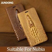 For Nubia M2 Z7 Z9 Z17 Max Case Cowhide Luxury Dragon Head Flip Cover