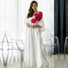 Oversize Women Summer Beachwear Long Kaftan Beach Dress White Cotton Tunic Bathing Suit Cover ups Bikini Wrap Cover up #Q871