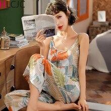 Женские пижамные комплекты из 2 предметов, хлопковая одежда для сна на тонких бретельках с принтом, одежда для сна, Пижама, ночное белье, пижа...