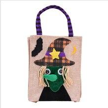 Halloween linen pumpkin tote bag childrens party dress up candy sugar gift  handbags