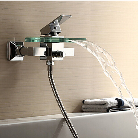 Brass Bath & Shower Faucets Square Wall Mounted Waterfall Faucet Glass Spout Bath Shower Tap Mixer Bathtub Faucet