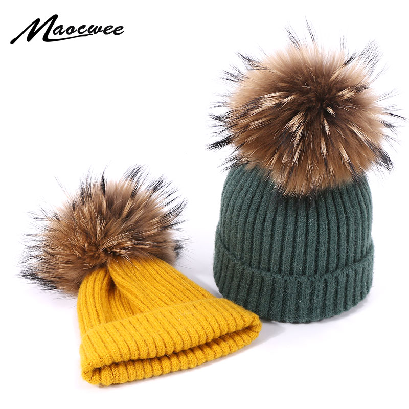 Winter Pompom Hat For Kids Ages 1-7 Knit Beanie Winter Baby Hat For Children Real Natural Fur Pom Pom Hats For Girls And Boys