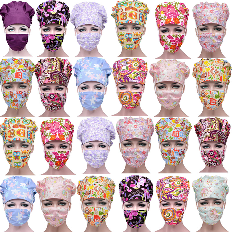 Hospital Surgical Face Mask Caps Gorro Cirujano Printed Doctor Nurses Scrub Gorro Enfermera Surgical Surgery Work Wear Hats Mask
