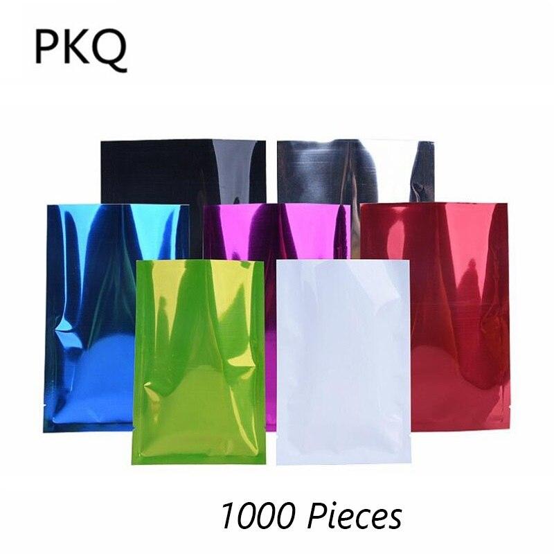 Petite taille en gros! Papier d'aluminium sac pochette coloré Mylar feuille sous vide thermoscellage sacs pour emballage alimentaire 1000 pcs/lot 10/12