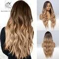 Blonde Einhorn Ombre Blonde Braun Lange Perücke Mittleren Teil Haar Perücke Cosplay Natürliche Wärme Beständig Synthetische Perücken für Frauen