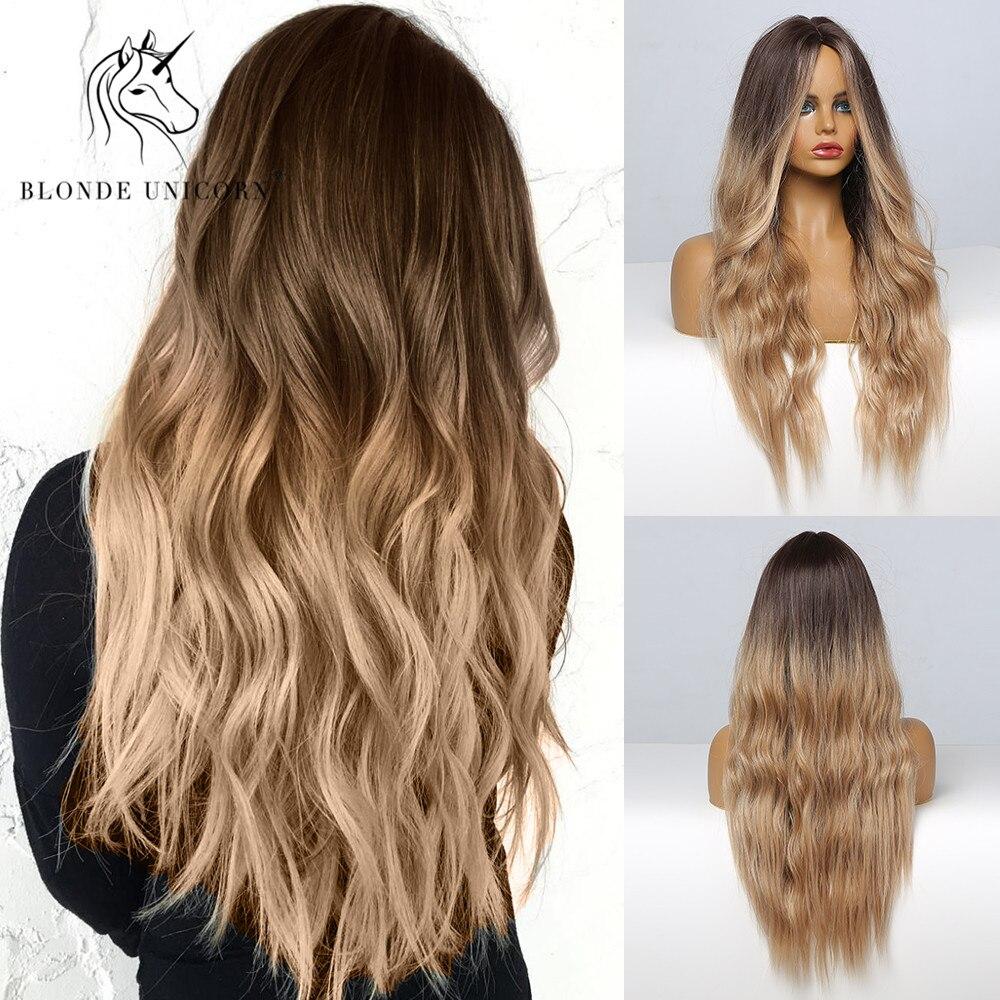 Blonde Einhorn Ombre Blonde Braun Lange Perücke Mittleren Teil Haar Perücke Cosplay Natürliche Wellenförmige Hitze Beständig Synthetische Perücken für Frauen