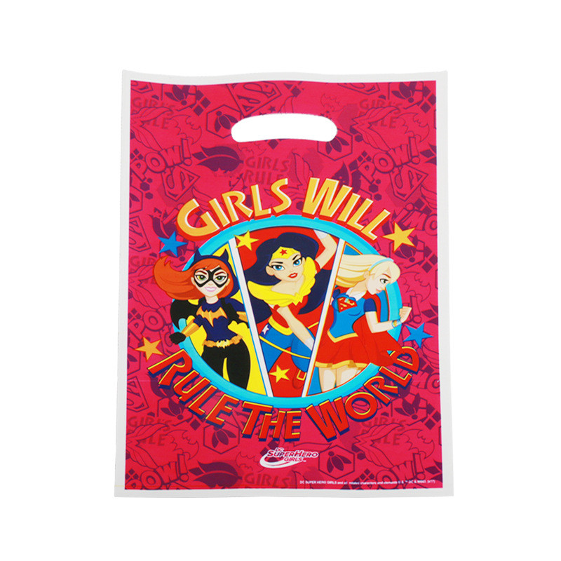 10pcs/lot Wonder Woman Gift Gag For Shower Party Supplies Kids Happy Birthday Party Candy Bags Loot Bag Decoration Supplies