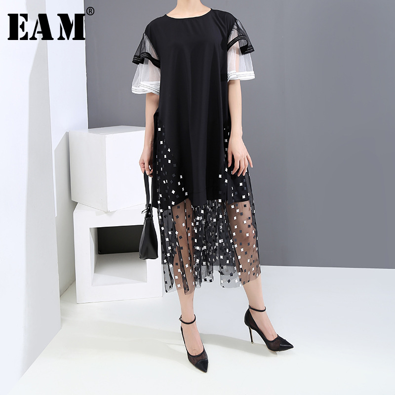 [EAM] Women Black Mesh Pattern Printed Big Size Dress New Round Neck Short Sleeve Loose Fit Fashion Spring Summer 2020 1U120