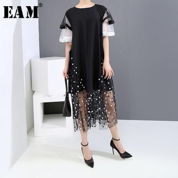 [EAM] Women Black Mesh Pattern Printed Big Size Dress New Round Neck Short Sleeve Loose Fit Fashion Spring Summer 2020 1U120 fashionable round neck short sleeve plus size printed dress for women