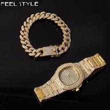 Gold Luxury Iced Out Watches + Bracelet Date Quartz Wrist Wa