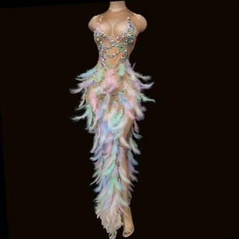 Multi-color Rhinestone Pearl Feather High Split Long Dress Sleeveless Prom Birthday Party Dress Women Stage Performance Clothes pearl embellished sleeveless dress