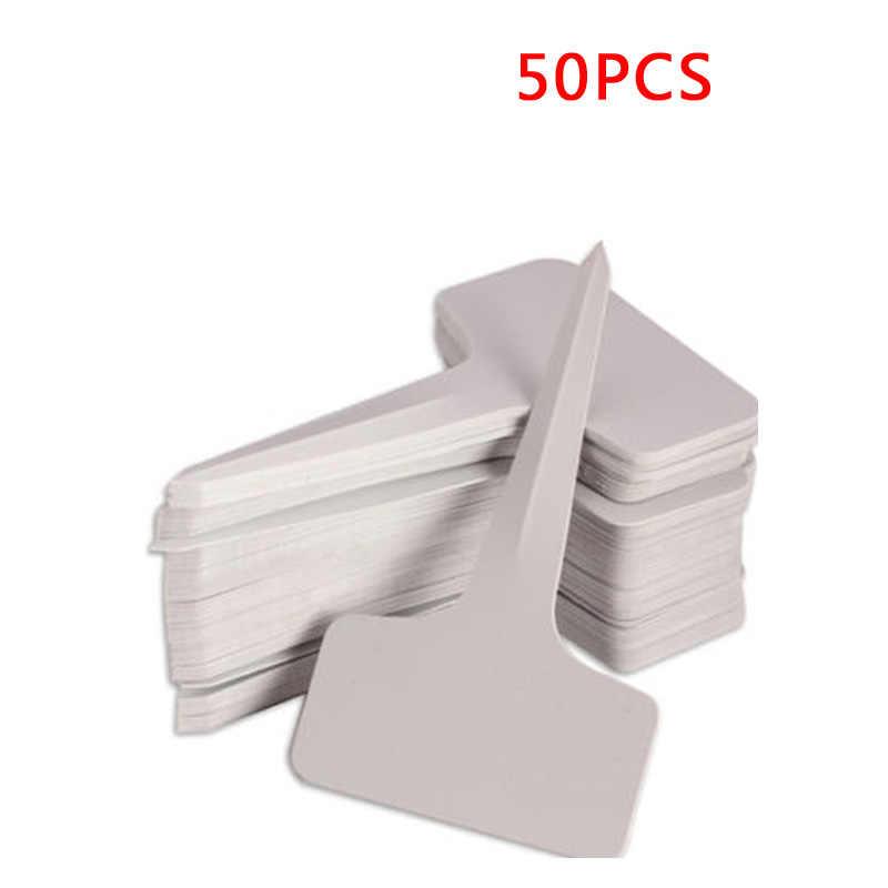 50 шт. 6x10 см белые пластиковые ПВХ Т-образные бирки для растений Маркеры детские садовые этикетки поднос для рассады украшение Горшков