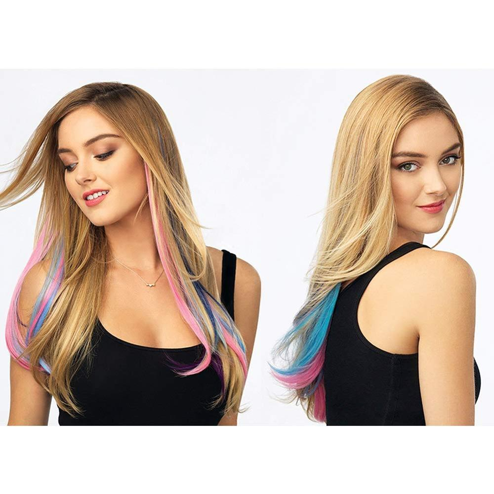 Colorful Clip In Synthetic Hair Extensions Long 20 Inches Colors Cosplay Heat Resistant Fiber Highlights Multiple Tones