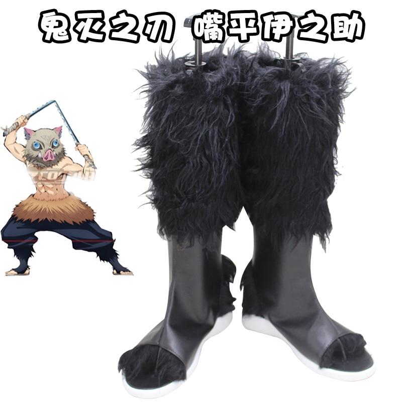 Kimetsu No Yaiba Tsuyuri Kanawo Shoes Cosplay Men Women Cartoon Demon Slayer Hashibira Inosuke Shoe Fashion Long Lace Up Boots