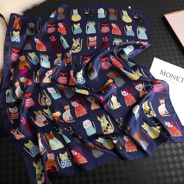 Luxury Brand 2020 New Fashion Summer Silk Square Scarf Women Cat P Satin Neck Hair Tie Band Beach Hijab Head Female Foulard