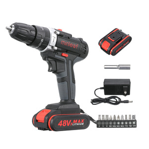 [US Plug] 48VF Cordless Electric Impact Drill Rechargeable Drill Screwdriver with 1 or 2 Li-ion Battery 25-28Nm Torque Power