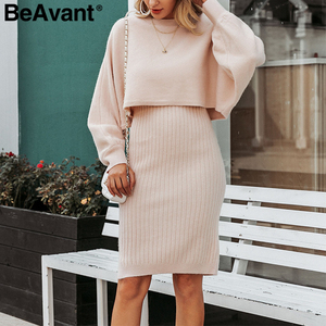Image 3 - BeAvant Elegant 2 pieces women knitted dress Autumn winter ladies pullover work wear sweater suit Solid bodycon sweater dress