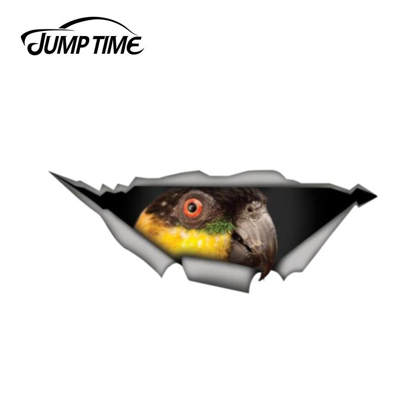 Jump Time 13cm x 4.8cm Black headed caique parrot decal 3D Pet Graphic Vinyl Decal Car Window Laptop Bumper Bird Car Stickers