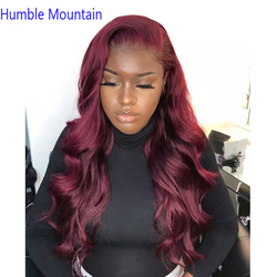 Humble Mountain 99J Body Wave Full Lace Human Hair Wigs With Baby Hair Pre Plucked Burgundy Brazilian Full Lace Wigs For Women
