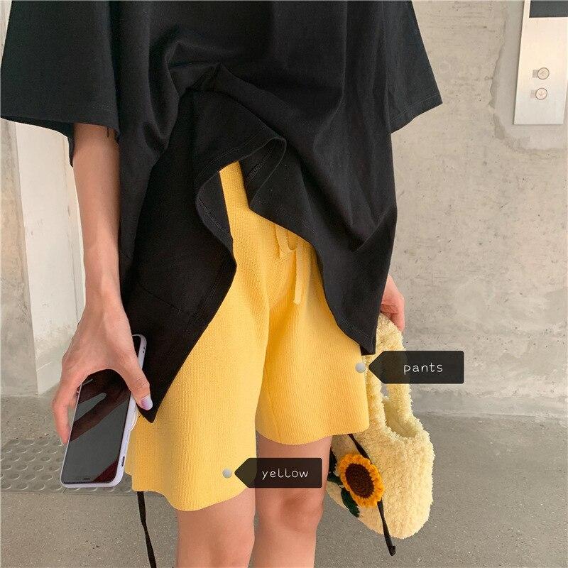 2020 Summer Knit Shorts For Women Elastic Waist Wide Leg Short Pants Female Knee-length High Waist Loose Solid Capris Shorts