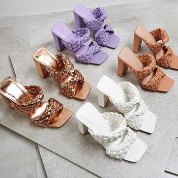 2020 Heels Sandals Women Shoes Summer Ladies Dress Sandals Square Toe Slip-on Femmes Sandalias Mujer Sexy Stiletto High Heels
