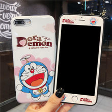 For iPhone 11 pro max japan Doraemon Cases + Tempered Glass Screen Protector film for iPhone XS max XR X 7 8 plus 6 6S Cover(China)