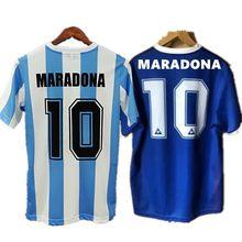 Классическая Ретро-футболка 1986 с изображением героя Марадона 10, белая, синяя памятная футболка с возможностью нанесения индивидуального им...