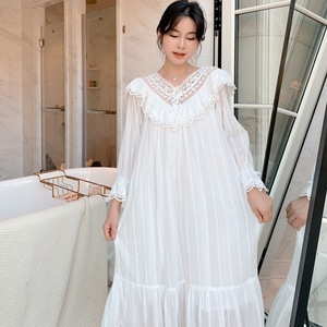 Image 1 - Autumn New Embroidery Lace Princess Nightgown Long Sleeve Woven Cotton Sleepwear