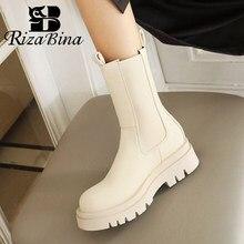 RIZABINA damskie krótkie buty platformy mody Pu skóra gruby obcas buty zimowe kobieta, ciepły, elastyczny, w stylu Casual, damska obuwie rozmiar 34-42