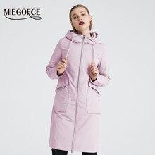 MIEOGOFCE 2020 새로운 봄 트렌치 코트 긴 여자의 스포츠 용 재킷의 일종 스탠드 칼라와 따뜻한 여자의 면화 코트 새로운 디자인 여성 코트