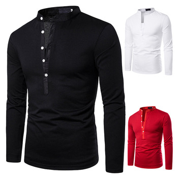 Men's POLO Classic Fashion Pure Dark V Design Cross-border Men's Collar Long Sleeve POLO