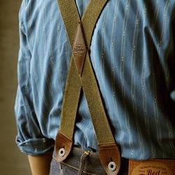 Red Tornado Retro Workwear Suspenders Men's Elastic X Back Leather Solid Braces