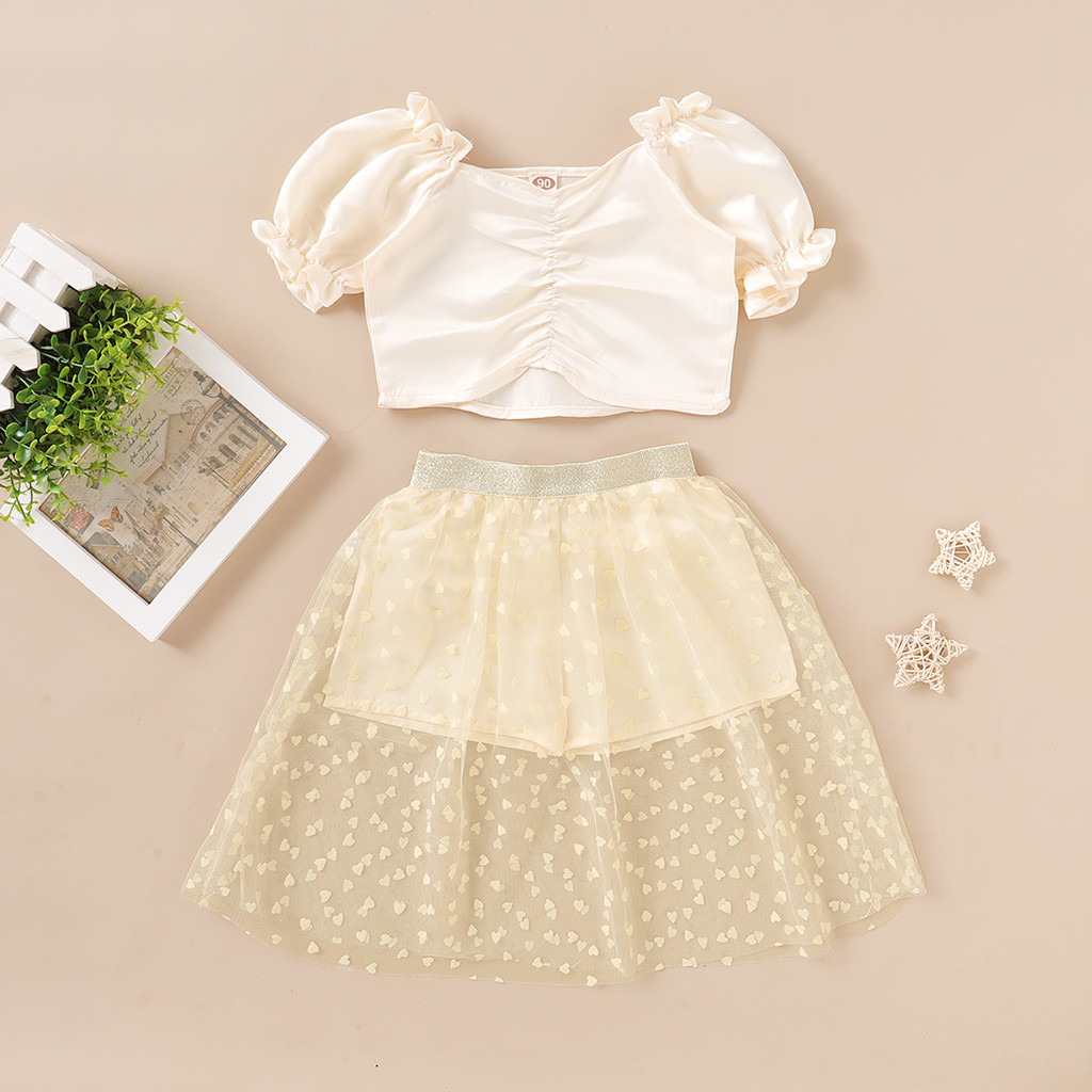 Summer Toddler Girls Clothes Set 2020 Princess Clothing Short Sleeve Tops Tulle Skirts 2pcs Kids Girls Clothes Set Girls Outfits