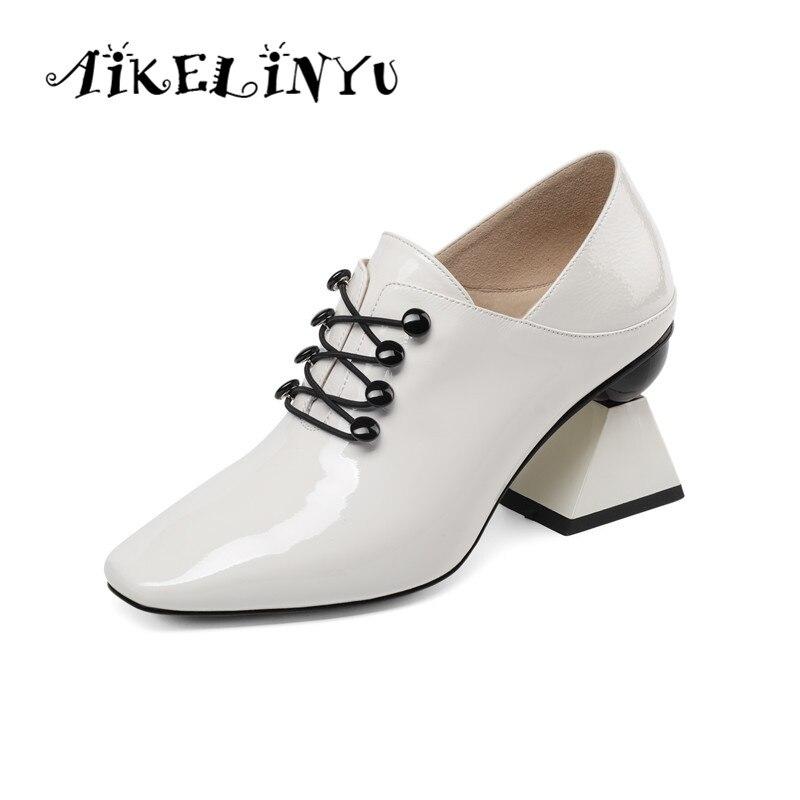 AIKELINYU Strange Shoes Cross-Tied-Shoes Pumps Women Square Toe Black Ladies Fashion