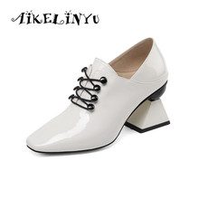 AIKELINYU Spring Fashion Cowhide Shoes Women High Heel Pumps Strange Ladies Square Toe Cross Tied Black