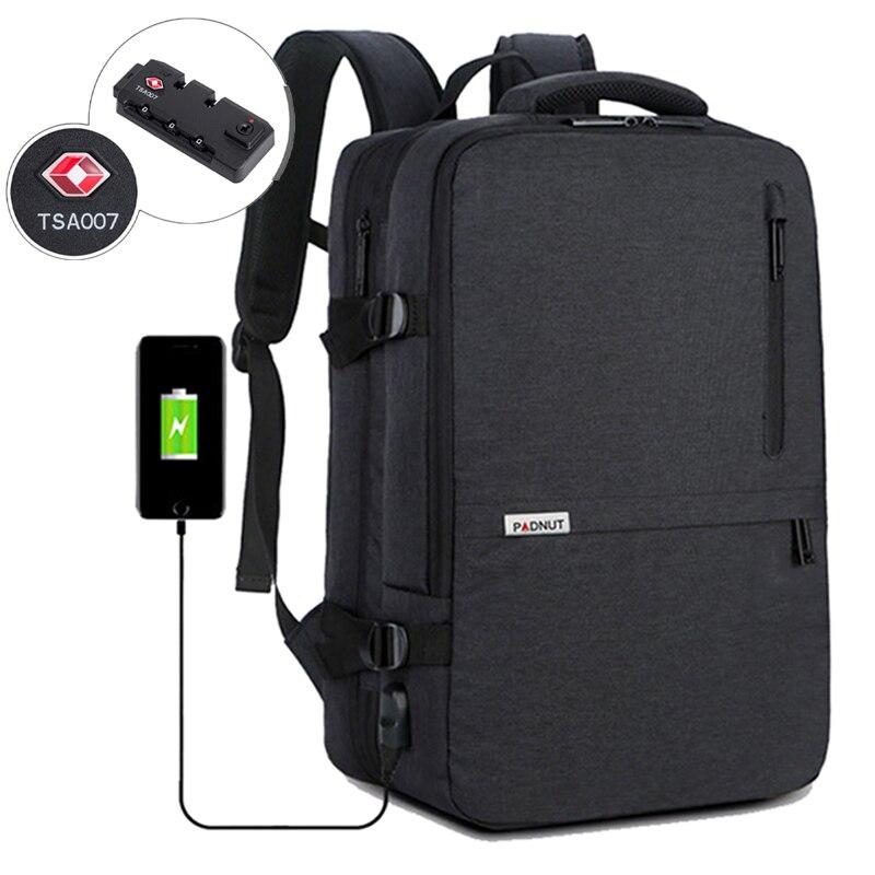 17.3 Inch Backpack Anti Theft Lock Men Laptop Bagpack Travel Business Back Pack School Bags Male USB Charger Men's Bag Mochila