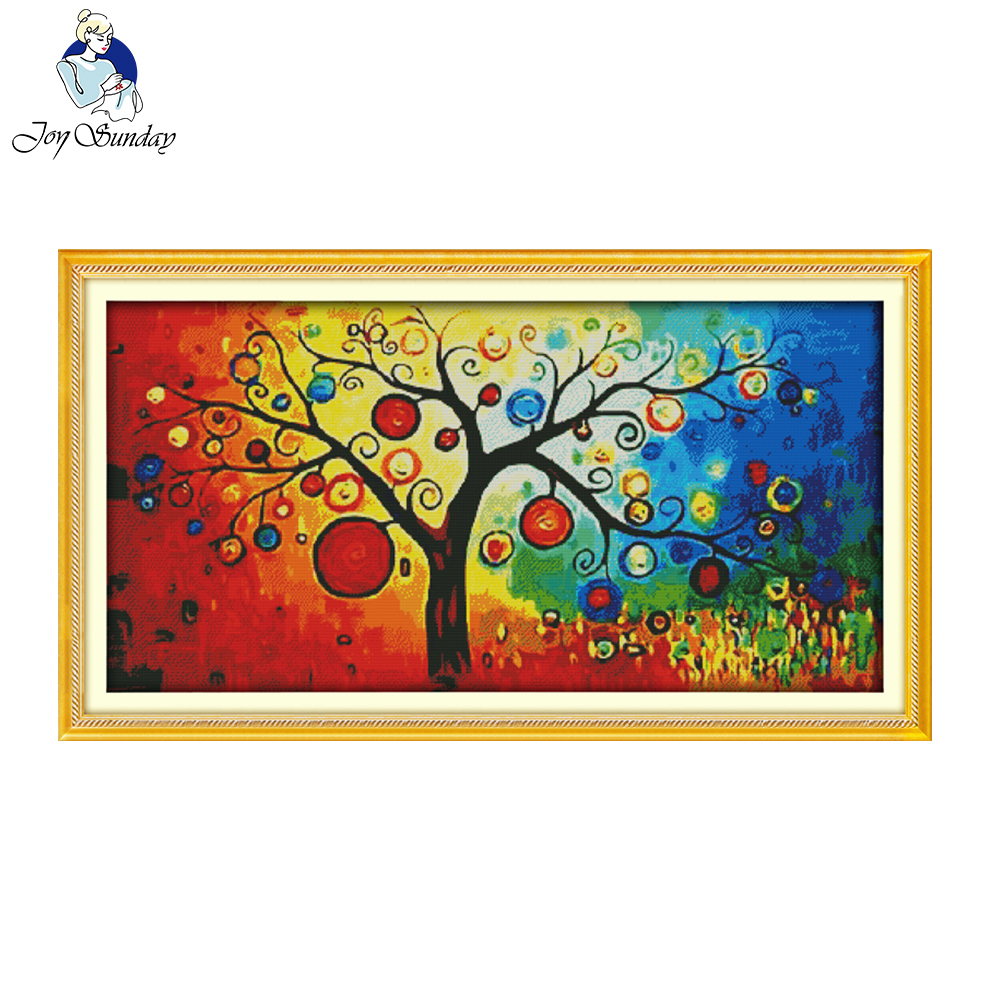 Stamped Cross Stitch Kits Pre-Printed Colorful Tree Embroidery Needlework
