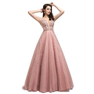 Image 4 - New Dubai Ball Gown Celebrity Dress Long 2021 Arabic Women V neck Sleeveless Evening Party Red Carpet Gown Robe De Soiree L5508