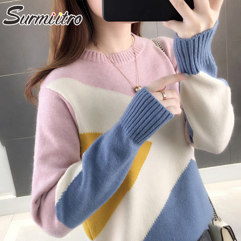 Surmiitro Knitted Sweater Women For Autumn Winter 219 Fashion Patchwork Color Long Sleeve Jumper Tricot Pullover Female