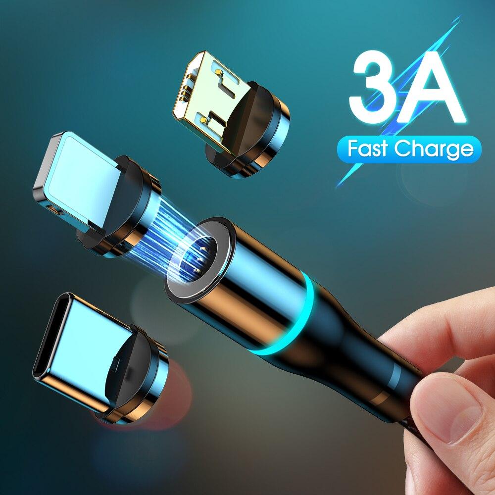 Carregador de ímã 3a cabo magnético micro cabo usb tipo c cabo de carregamento rápido para iphone samsung android cabo do telefone móvel fio
