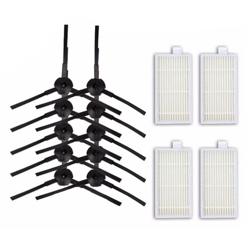 10pcs Side Brush+4pcs Filter Hepa For Ariete Briciola 2711 2712 2713 2717 ROBOT HOFER Cleaner Parts Accessories